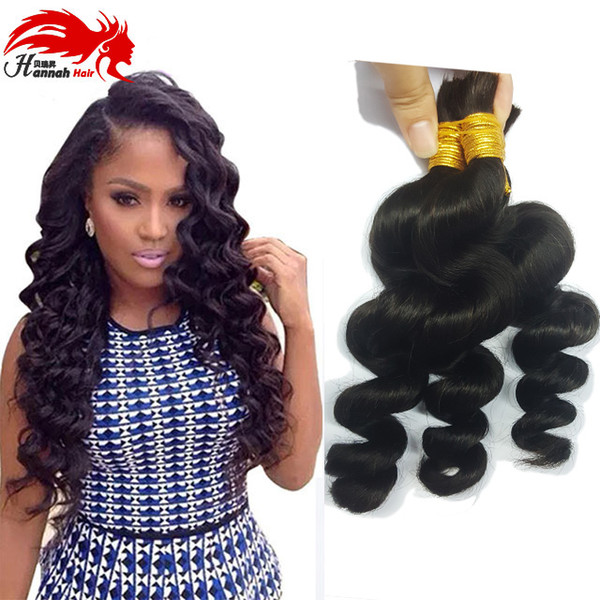 best selling Hannah Product Peruvian Loose Wave Human Hair For Braiding Bulk No Attachment Peruvian Virgin Bulk Hair 3Pcs Lot Loose Wave