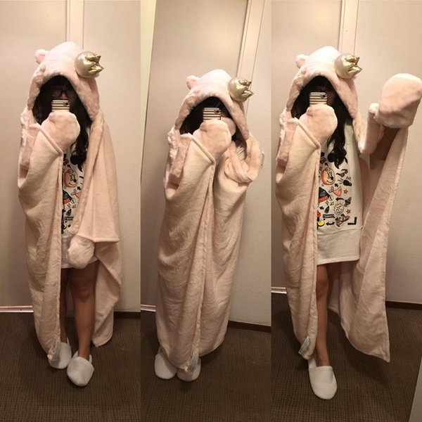 Unicorn cartoon air-conditioned blanket padded coral velvet cloak hooded blanket adult napping children can hold a blanket cloak 158X128CM