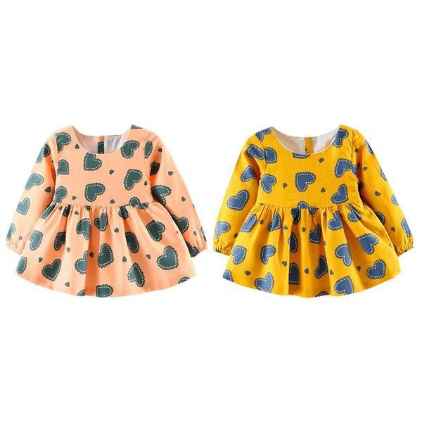 Autumn Cartoon Bear Long Sleeve A-Line Dress Hearts Print Girls Baby Swing Clothes PNLO cute grils A-Line Dress
