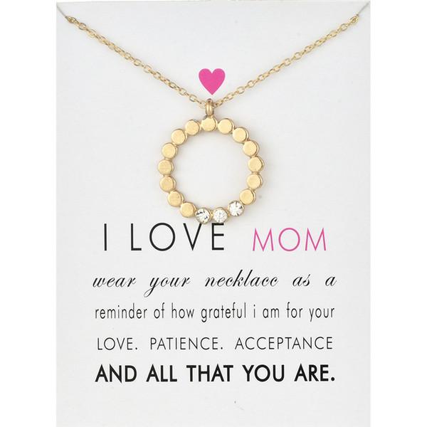Círculo Aleación Colgante Collar Oro Plata Colores Aleación Colgantes Con Tarjeta Mujeres Collares Joyería de Moda Regalo del Día de las Madres