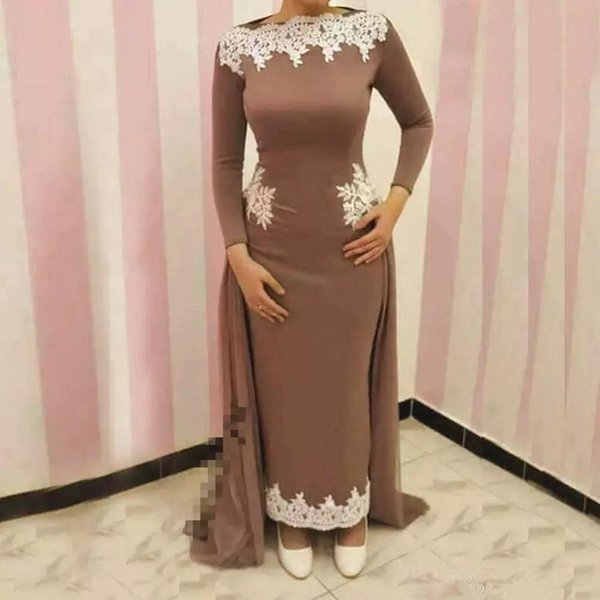 Ankle Length Mother of Bride Groom Dress with Overskirt Vintage Sheath Long Sleeves Appliques Formal Arabic Dubai Muslim Party Evening Gowns