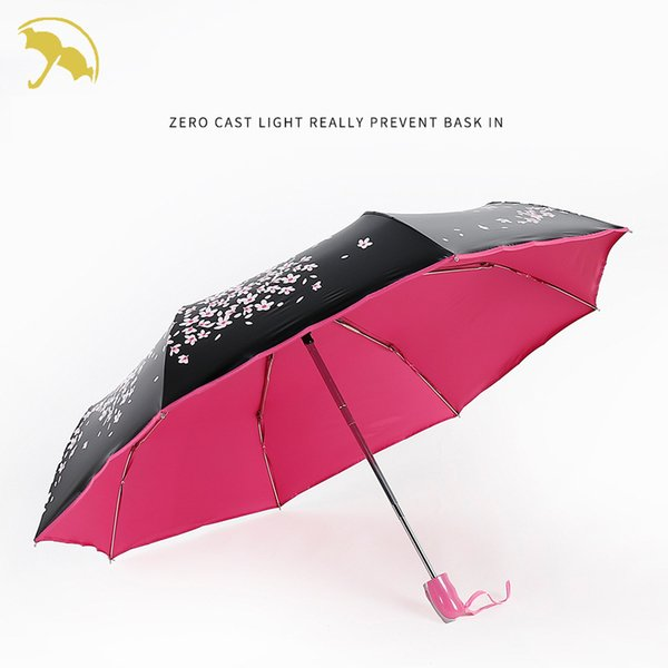Flower umbrella Black Coating sunscreen sunny umbrella rain woman three folding female Automatic princess Parasol gift