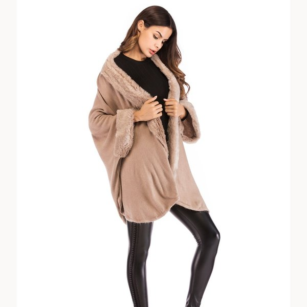 Winter Loose Women Knit Sweaters Ladies Batwing Sleeve Ponchos Capes Cardigans Casual Fur Collar Cardigan Coat Faux Fur Sweater