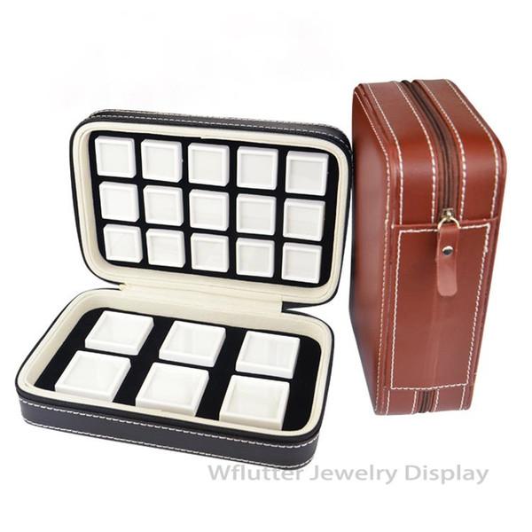 Súper Negro Marrón Estuche de cuero para gemas portátil Pantalla de diamante Ziplock de viaje Bolsa de piedras preciosas Bolsa de piedra Dentro de la caja de gemas de plástico