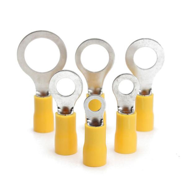 Nueva alta calidad 50 unids goma amarilla terminal de aislamiento PVC anillo conector RC 4.0-6.0mm 12-10AWG M5 M8 M10 M13