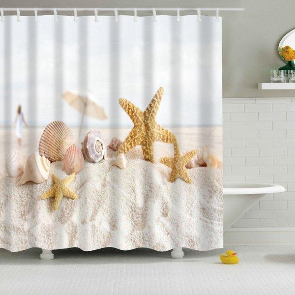 Yeni Renkli Çevre Dostu Plaj Kabuklu Denizyıldızı Kabuk Polyester Yüksek Kaliteli Yıkanabilir Banyo Dekor Duş Perdeleri