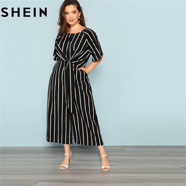 SHEIN Black And White Striped Raglan Sleeve Plus Size Belted Women Wide Leg Jumpsuits Office Lady O Neck Casual Loose JumpsuitX82301