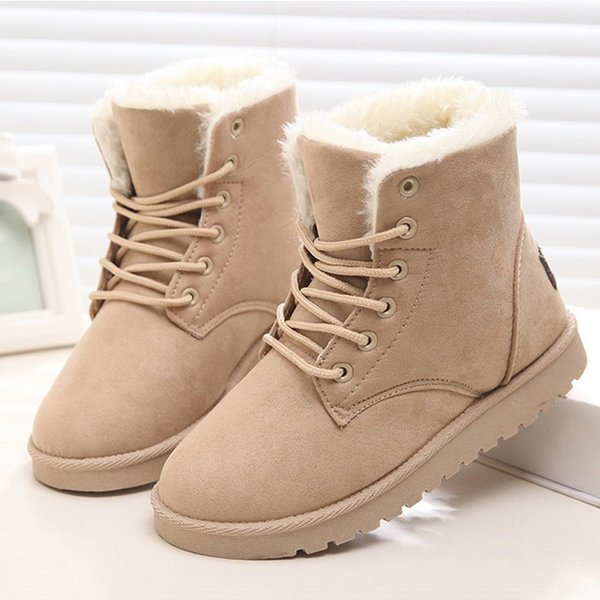 aiyin / 2017 Women Boots Winter Warm Plush Women Winter Boots Fur Ankle Boots Women Shoes Flock Fashion Lace Up