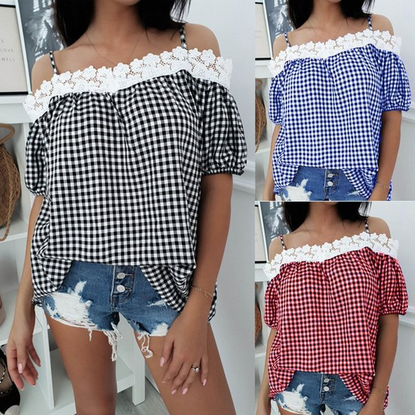 Women Short Sleeve Loose T-Shirts Fashion Ladies Summer Casual Tops Off Shoulder Plaid Tops Tees Casual