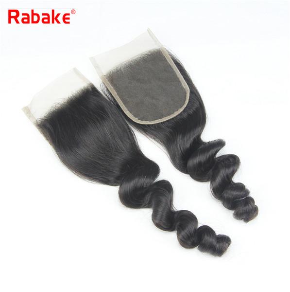 Rabake Loose Wave Top 4x4 Cierre de encaje suizo Brasileño de onda suelta Extensiones de cabello Virgen Peruano Indio de Malasia Cabello humano Cierre de encaje