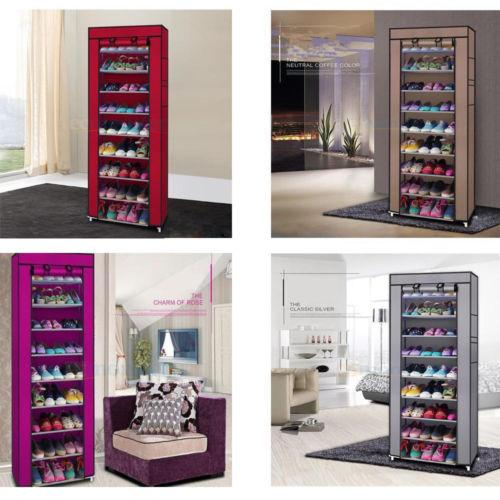 10 Layers 9 Grid Shoe Rack Shelf 12 Colors Storage Closet Organizer Cabinet Shoe Storage Box Organizador Furniture Home Decor