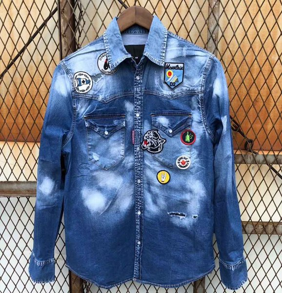 2018 en ünlü Mens marka Kot Ceket Sokakları Denim Ceket en kaliteli Ince rahat Yüksek Sokak Erkek Jean Ceket denim Ceketler