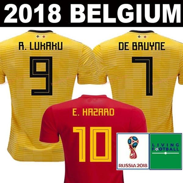 Belgique 2018 Coupe du Monde Home Haut rouge Thaïlande Qualité Lukaku FELLAINI E.HAZARD KOMPANY DE BRUYNE Soccer Jersey 18 19 Belgique maillot de football