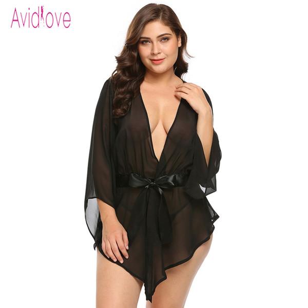 Avidlove Plus Size Trasparente In Pizzo Abito Donna Bamboletta Sexy Costumi Erotici Caldi Del Sesso Kimono Accappatoio Vestaglia Y18102206