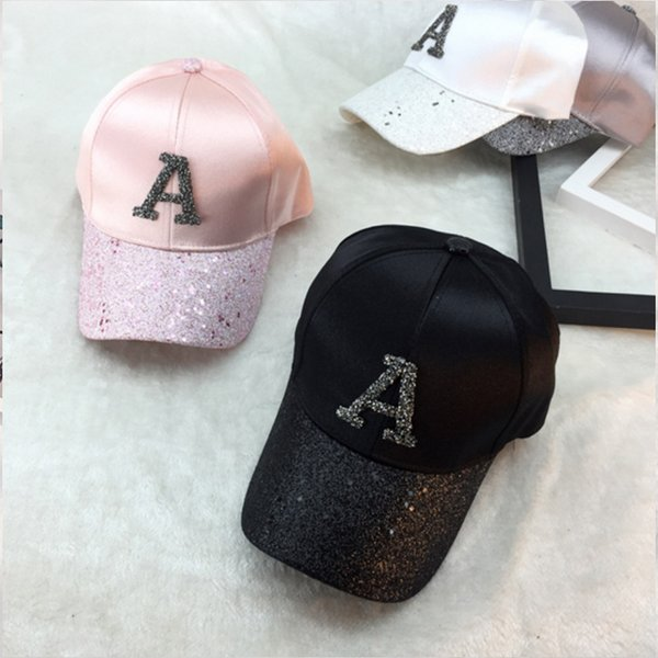 Glitter Ponytail Baseball Cap Women Snapback Hat Summer Letter A W R Hats Casual Adjustable Sport Caps Drop Shipping