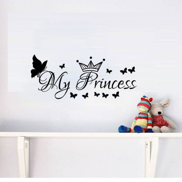 My Princess Wall Stickers Butterflies And Crown Girls Bedroom Wall Decals DIY Home Decor Vinyl Murals