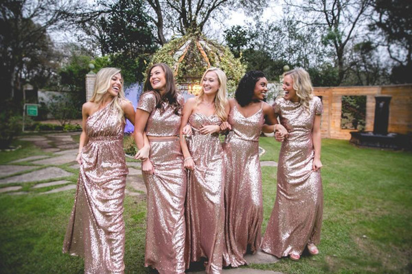 Rose Gold Sequined Plus Size Bridesmaids Dresses 2018 A Line Mix Styles Long Length Cheap Simple Girls Wedding Maid Of Honors Formal Gowns