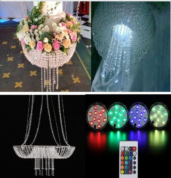 romantic luxury suspending Tall cake pan chandelier crystal Wedding Cake Stand Crystal wedding big cake flower vase holder with 2 pcs light
