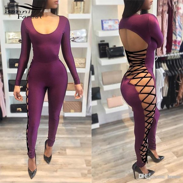 Wholesale- Bonnie Forest Womens One Piece Outfits Purple Skinny Jumpsuits Romper Sexy Open Back Side Bandage Bodycon Club Jumpsuit Overalls