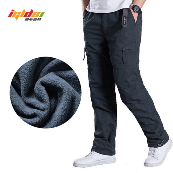 Calças de Carga de Lã dos homens de Inverno Calças Quentes Grossas Comprimento Multi Bolso Casuais Calças Táticas Baggy Plus Size 3XL
