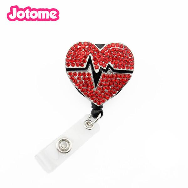 Popular Red Rhinestone Breast Cancer Heart Brooch Retractable ID Badge Holder Yoyo Pull Reel Nurse ID Name Card