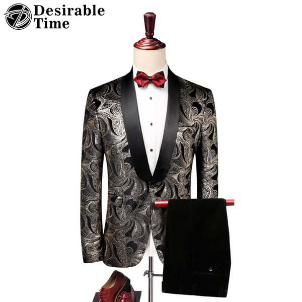 Mens Fashion Floral Suits with Pants Wedding Groom Prom Tuxedos for Men 2018 New Arrival Slim Fit Printed Male Suit DT473