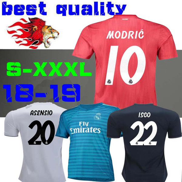 new concept 8ddb6 8de18 2019 18 19 Real Madrid Home Away Soccer Jersey 2018 2019 Third RED Asensio  RAMOS BALE KROOS ISCO Casemiro Football Shirts Courtois Goalkeeper From ...