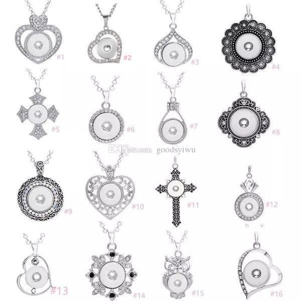 7 stili Noosa assortiti Ginger 18mm Bottoni a pressione Chunk Charms cuore di cristallo multi pendente collane in acciaio 316L catena gioielli