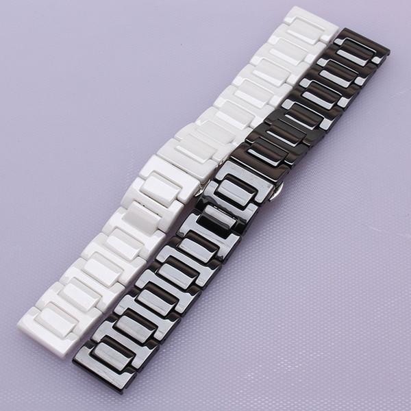 14 16 18 20 22mm Ceramic Watchband Black White Polished watches accessories fit brand stylish watches men women wrist bracelets straps bands