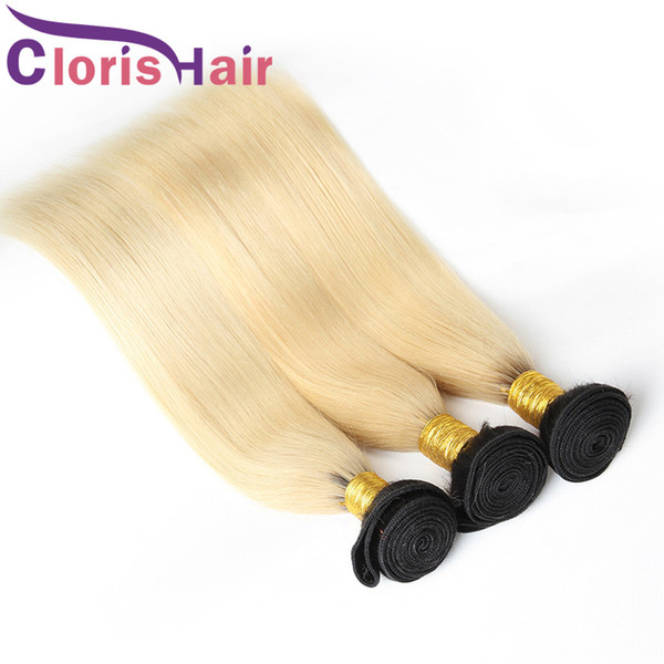 Clearance Dark Roots Blonde Hair Two Tone Malaysian Virgin Straight Weave Cheap 1B 613 Colored Weaving 3 Bundles Ombre Human Hair Extensions