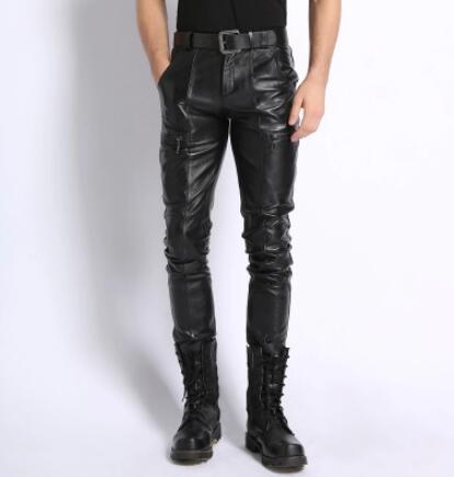 M-4XL SıCAK 2019 kış Yeni erkek giyim hakiki deri pantolon Kore İnce Sıcak motosiklet koyun Artı boyutu rahat deri pantolon