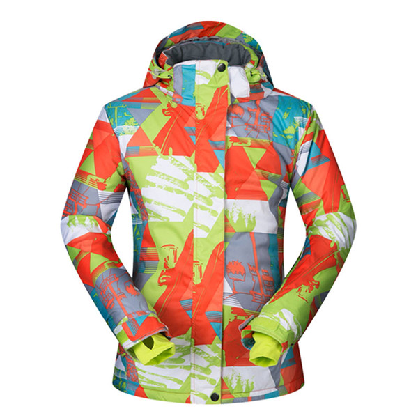 Top Quality Snowboard and Skiing Jackets Woman Colorful Printing Snow Coats Winter Outdoor Waterpoof Lady Ski Jackets Waterproof