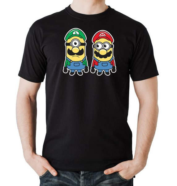 Mini Bros T-Shirt Boys Black | mario, luigi, gaming, minions,