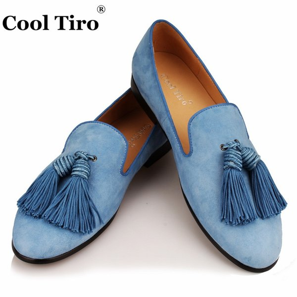 Mocasines de Hombre Tassels Zapatos Cool Slippers vestir cielo azul de Mocasines Mocasines ante Tiro Slip qOw7EPw