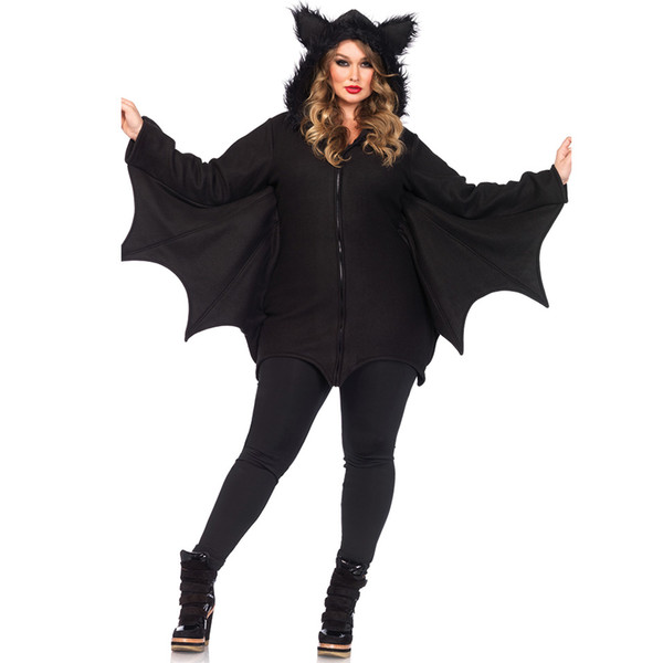 Batwoman Women Bat Costume Animal Cosplay faux fur ear Cloak Romper with Zipper Halloween Vampire demon Masquerade Party