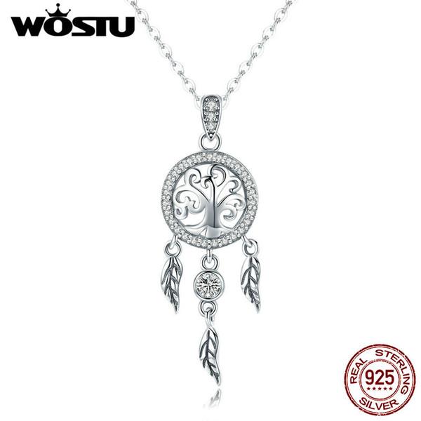 WOSTU Vintage 925 Sterling Silver Life Tree Dreamcatcher Colar Pingente Para As Mulheres Boa Sorte Moda Presente Da Jóia FIN298