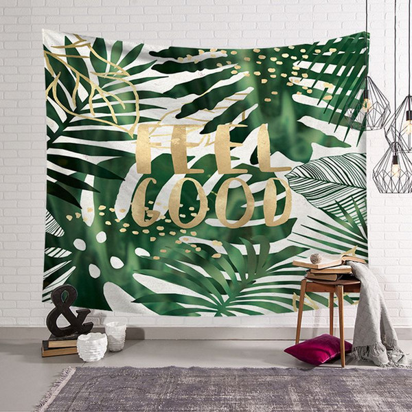 Green Tropical Plant Tapestry Quotes And Leaf Leaves Beach Mat Modern Hanging Wall Cloth Tapestries Dorm Room Show Piece Decorative Wall Tapestries
