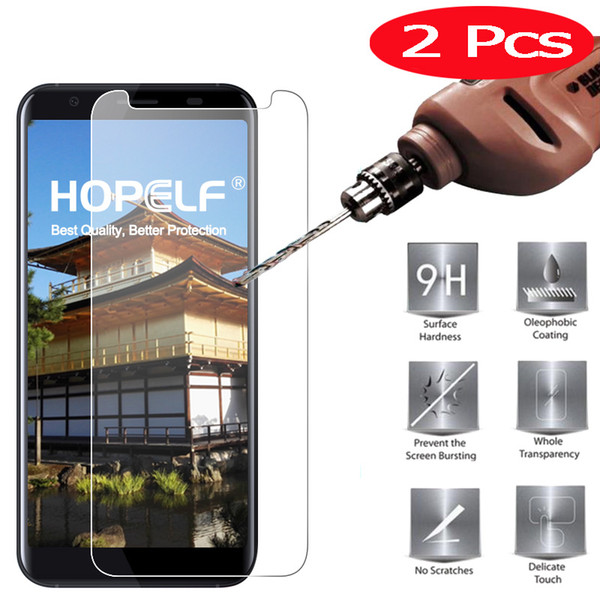 2 Pieces HOPELF Screen Protector for Doogee X55 Tempered Glass 2.5D 9H on Phone Protective Film Tempered Glass for Doogee X55