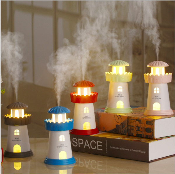 Simulation Lighthouse Aromatherapy Humidifier Mini Desktop Air Humidifier Diffuser USB Automatic Power-Off Mist Maker Fogger For Home