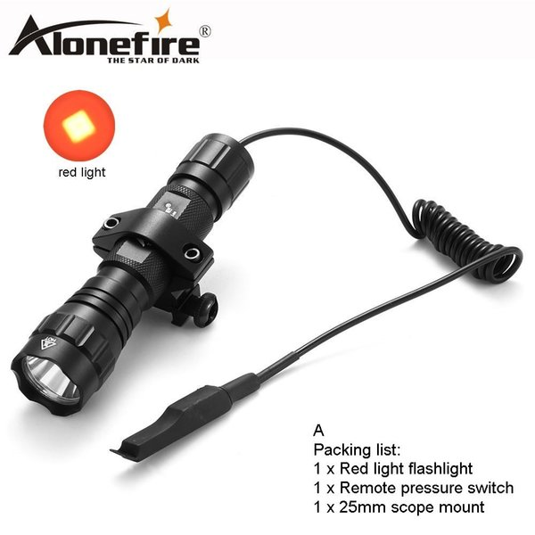 AloneFire 501Bs CREE LED Tactical Flashlight red light Torch lighting Shot with Remote Pressure Switch Tactical Mount