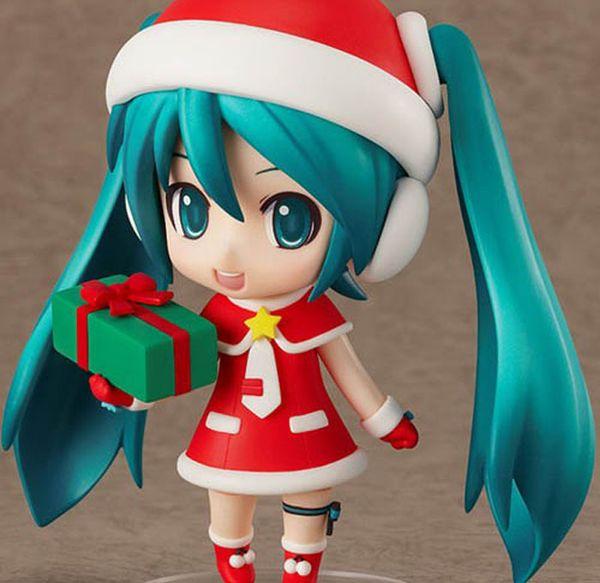 10cm Q Version roter Hatsune Miku Anime sammelbare Tätigkeits-Abbildung PVC spielt für Weihnachtsgeschenk mit Kleinkasten