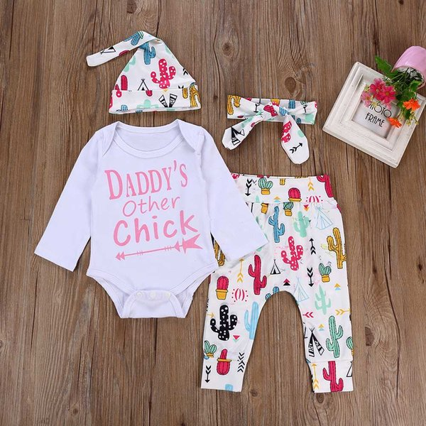 Top Romper+ Pants+Hat+Headband Outfits Clothes 0-24M On Stock Daddy's other chick 4PCS Infant Newborn Baby Girls Clothing Suit
