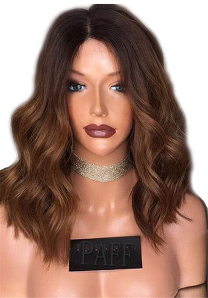 #1B 30 Body Wavy Lace Front Wigs Short Bob Cut Style Honey Ombre Wig Glueless Full Lace Wigs for Black Women