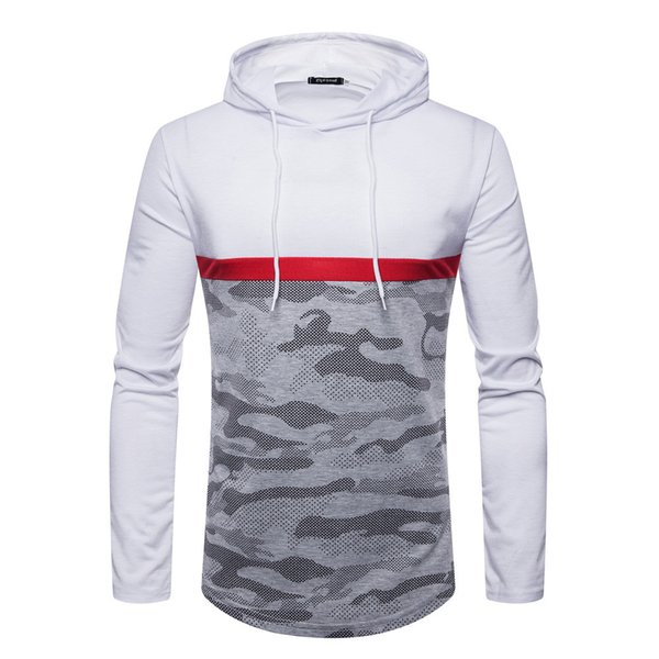 Men's basic Autumn Winter Casual Slim Red stitching Fit Camouflage Long Sleeve sudaderas para hombre con capucha hoodies