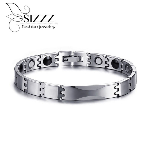 SIZZZ Fashion simple 8MM wide tungsten steel trend bracelet&bangles steel color for men