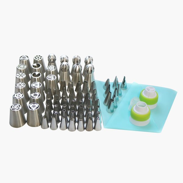 77PCS Icing Piping Tips Set 1 Pcs Silicone Bag 3 Coupler Russian Tulip Nozzles Cupcake Cake Decorating DIY Dessert