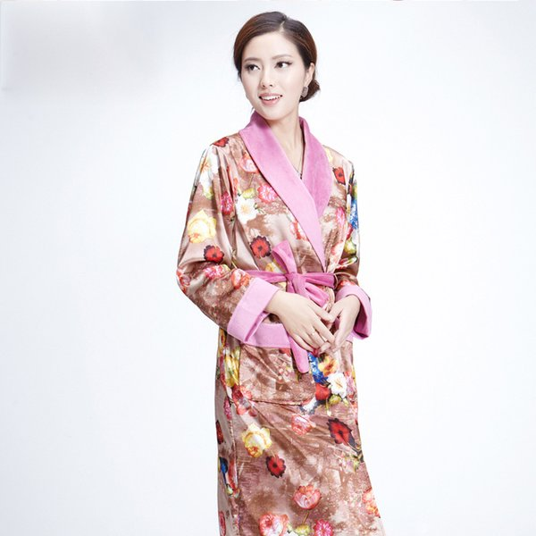d17ed9be3c New Long Robe Women Robes Couples Sleepwear Autumn Winter Thickening Coral  Fleece Flannel Bathrobes Sexy Nightgown