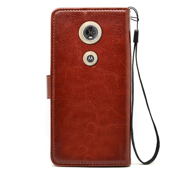 Flip leather Case For motorola moto e5 plus PU + TPU Leather Magnetic Book Wallet Cover Pouch With Lanyard