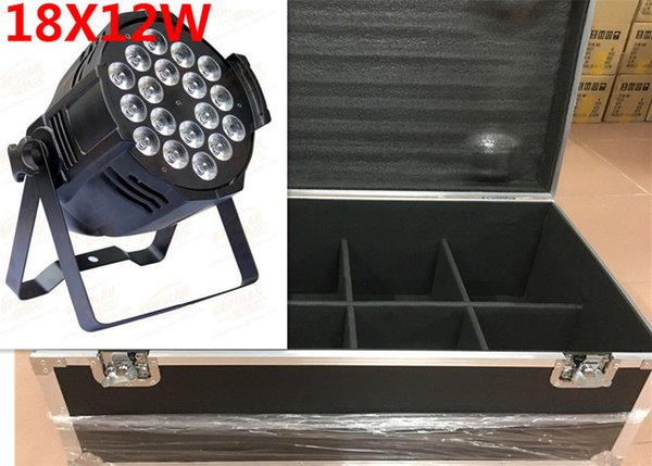 flight case 8pcs/lot Aluminum alloy 18x12W RGBW 4in1 LED Par Can Par64 led spotlight dj stage light