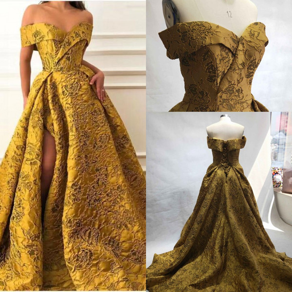 Real Image Gold Lace Pattern Evening Formal Dresses 2019 Modest Off Shoulder Sexy Split Sweep Train Dubai Arabic Occasion Prom Gown